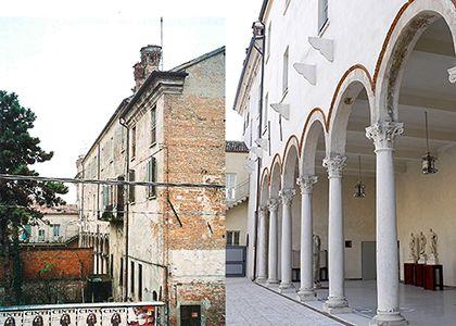 Loggia of Marbles before and after restoration