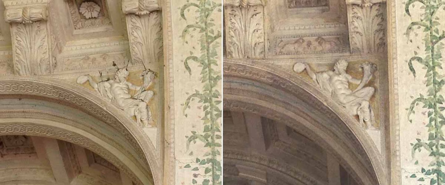 Loggia of David, before and after the restorations