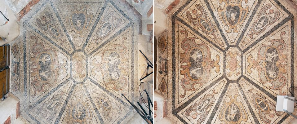 Floor of vestibule, before and after restorations