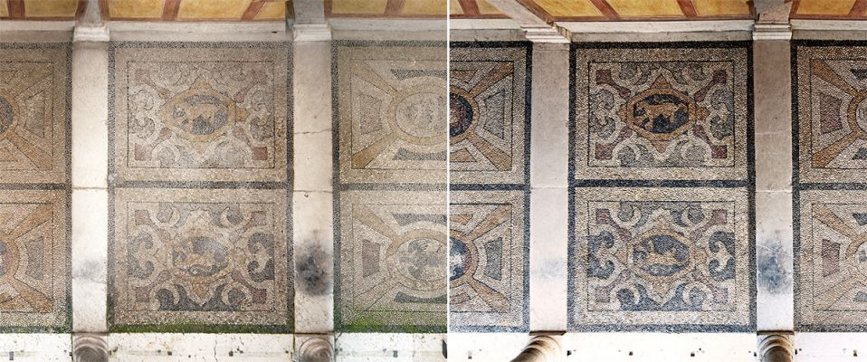 Floor of loggia, before and after restorations (Photo by Guido Bazzotti)
