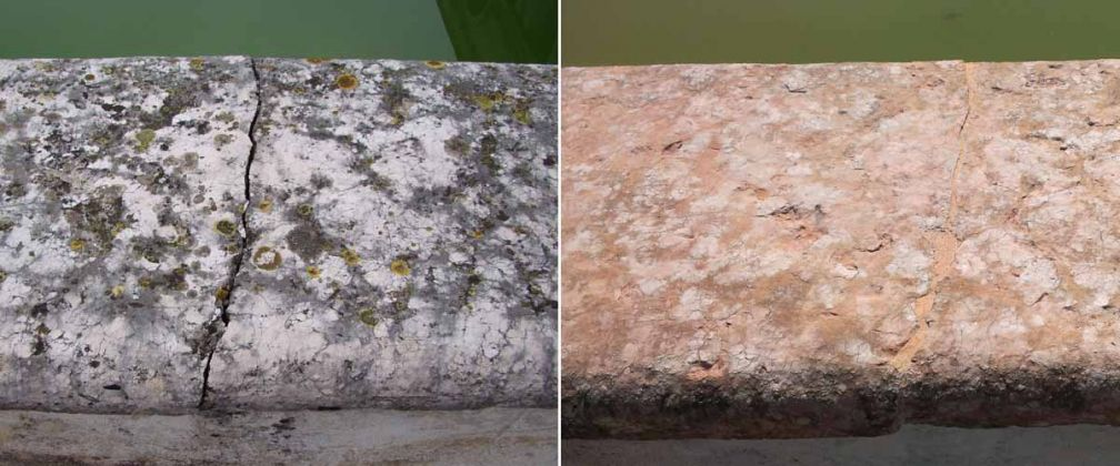 Fisheries: parapets before and after the restoration - Restoration of the parapets and 12 marble grotesques
