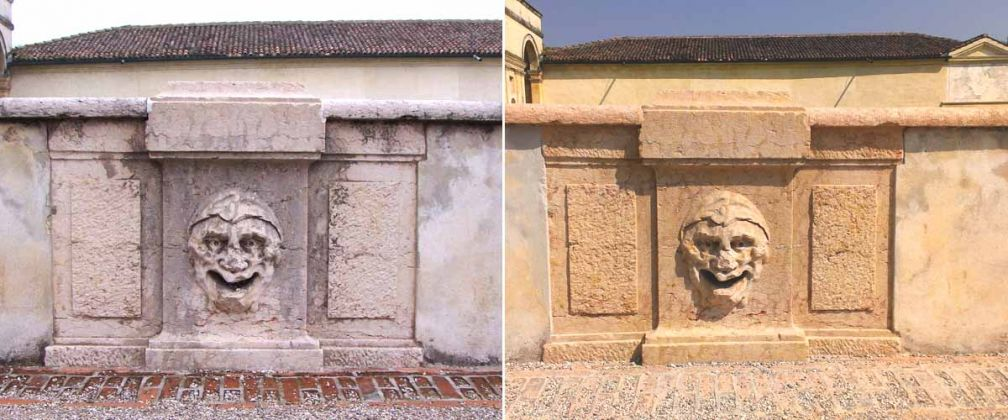 Fisheries: marble grotesques before and after the restoration - Restoration of the parapets and 12 marble grotesques